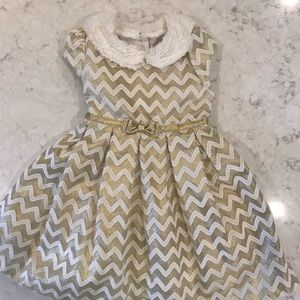 Jona Michelle Holiday Gold and white Dress- 3T
